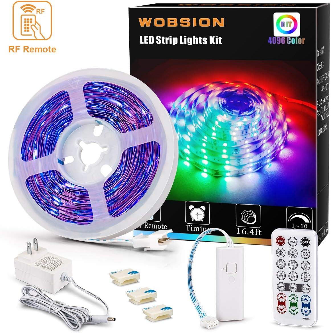 wobsion Color Changing Led Strip Lights, 16.4ft 4096 DIY Colors Flexible Strip Lights with RF Remote, 12V RGB Led Strip Lights, SMD 5050 LEDs,Light Strips for Kitchen,Bedroom,Room Decoration