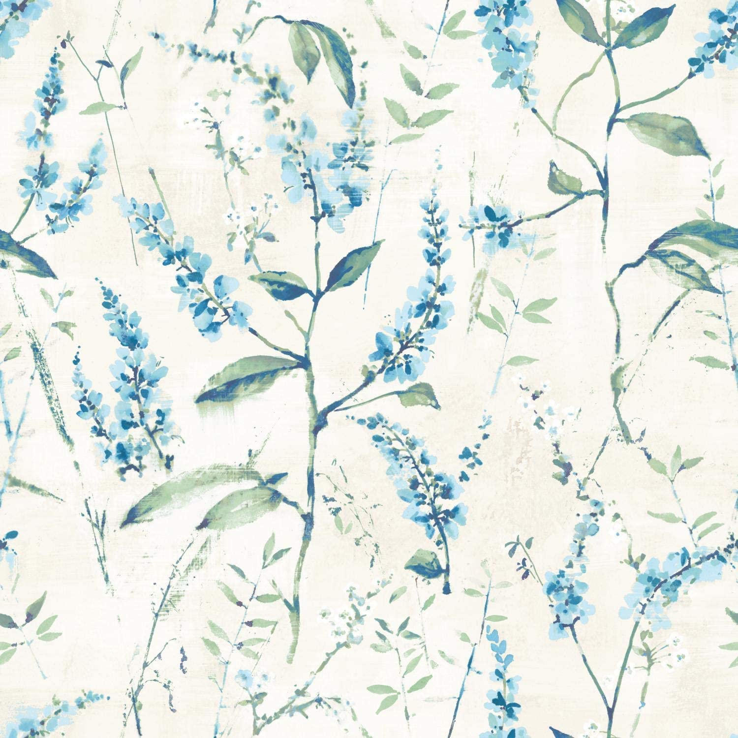 Amazon Com Roommates Blue Floral Sprig Peel And Stick Wallpaper