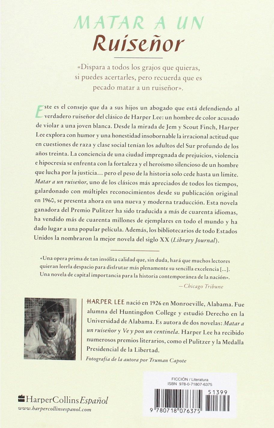 Matar a un ruiseñor (To Kill a Mockingbird - Spanish Edition): Harper Lee: 9780718076375: Amazon.com: Books