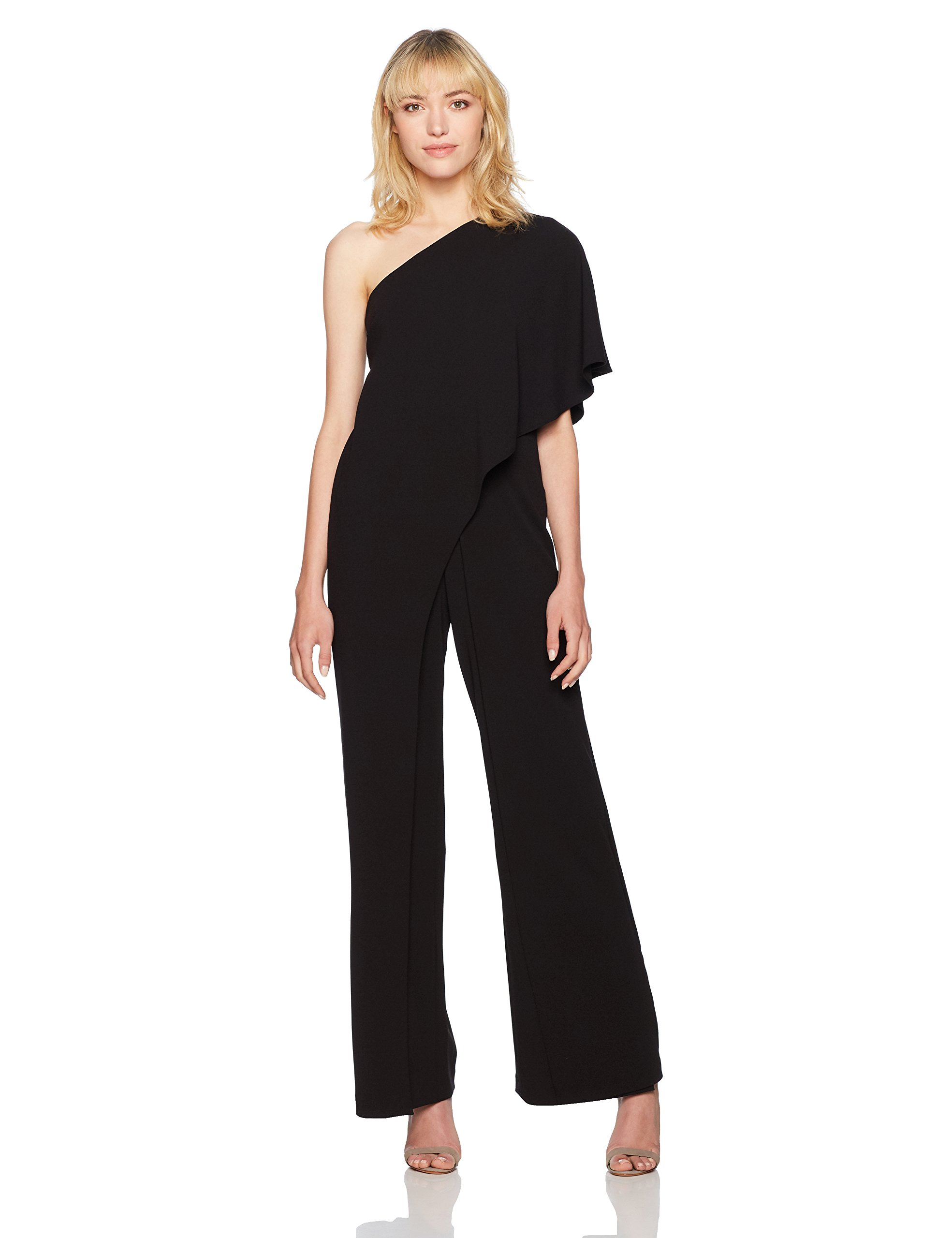Adrianna Papell Women's One Shoulder Crepe Melania Jumpsuit, Black, 2