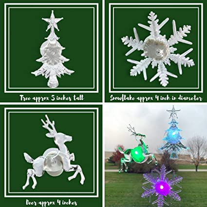 Holiday Led Window Decorations Assorted Set Of 3 Reindeer Christmas Tree Snowflake Led Color Changing Lights Battery Operated Christmas