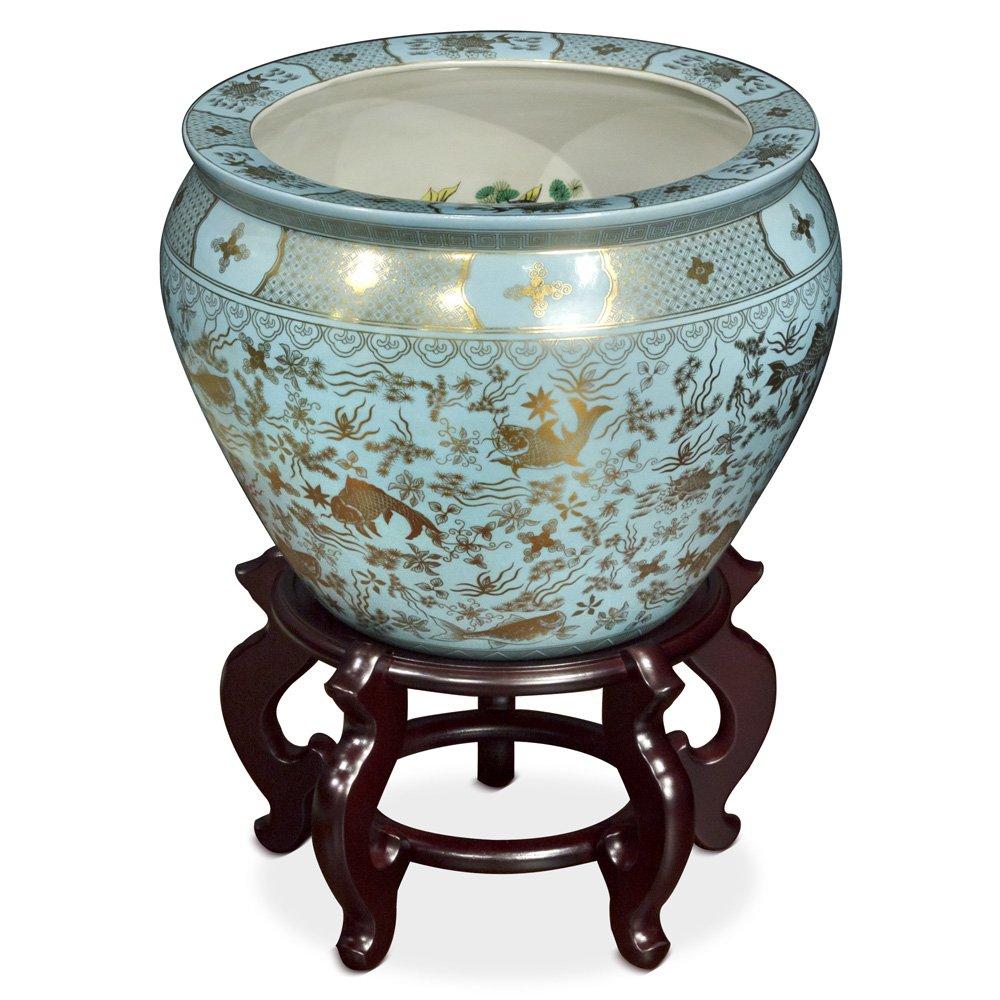 China muebles en línea porcelana maceta, 16 en pintado a mano diseño de Koi pecera: Amazon.es: Hogar