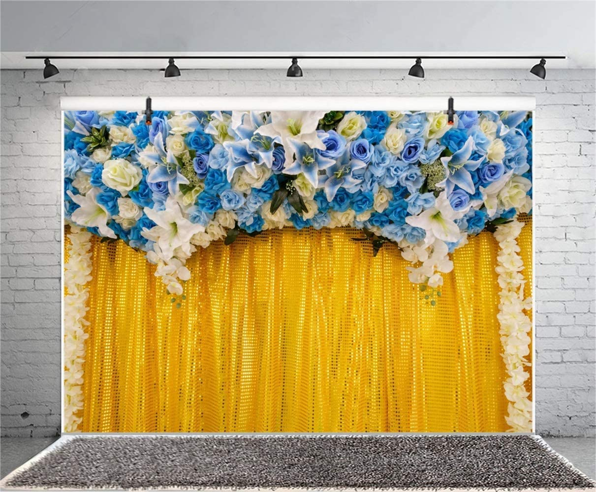 GoHeBe Graceful Blue Tulip Rose Flowers Wedding Stage Backdrop 10x7ft Vinyl Floral Wedding Ceremony Photobooth Yellow Sequin Curtain Background Wedding Video Shoot Bridal Shower Bride Portrait