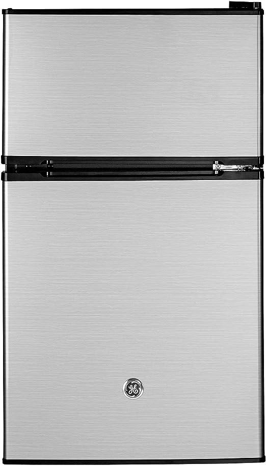 GE Appliances 3.1 Cubic Foot Freestanding Double Door Compact Refrigerator Clean Steel