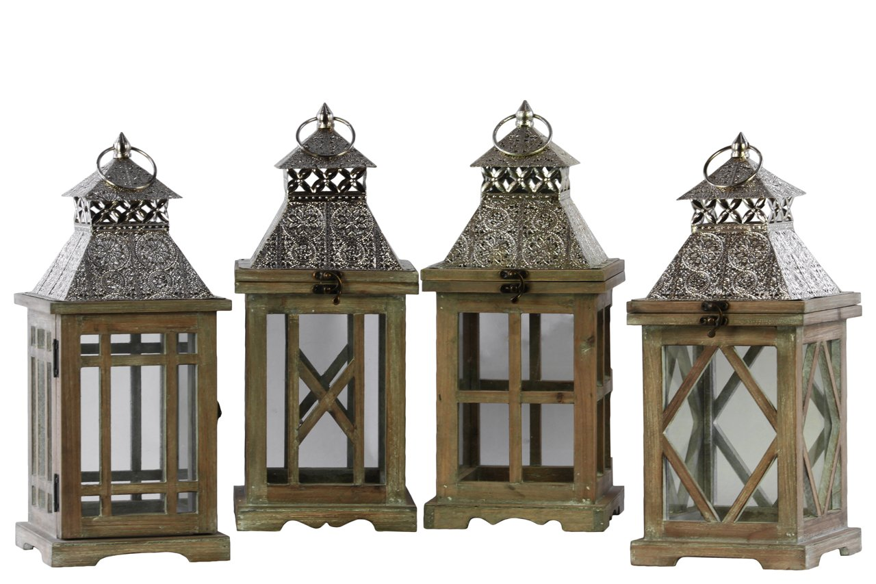 Urban Trends Wood Square Lantern with Silver Pierced Metal Top, Ring Hanger and Glass Windows Assortment of Four Stained Wood Finish Brown, Brown