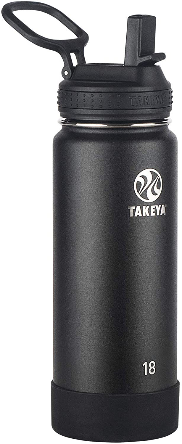 Takeya Actives Insulated Water Bottle w/Straw Lid, Onyx, 18 Ounces