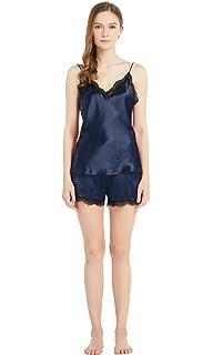 1531f4d411 LilySilk Seide Pyjama Set Schlafanzug Nachtwäsche Seide Damen Kurz Spitzen  Besatz 22 Momme Verpackung MEHRWEG