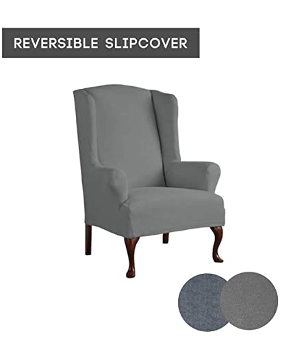 Serta 1 Piece Reversible Stretch Suede T Wingback Chair Slipcover, Steel  Gray Herringbone/Gray
