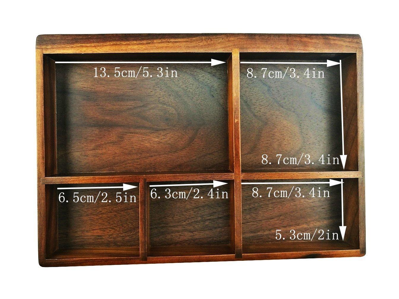 Winterworm Noce nero americano in legno vassoio organizzatore 5/scomparto organizer Jewelry Storage organizer da scrivania