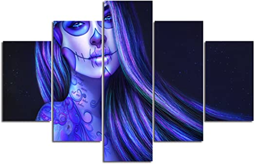 Skull Tattoo Day of The Dead girl art Poster Canvas Print Wall Art Decor 5 Piece