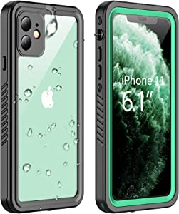 Vapesoon Designed for iPhone 11 Waterproof Case, Built-in Screen Protector Full-Body Clear Call Quality Heavy Duty Shockproof Cover Case for iPhone 11 2019(6.1 Inch)-Black/Green