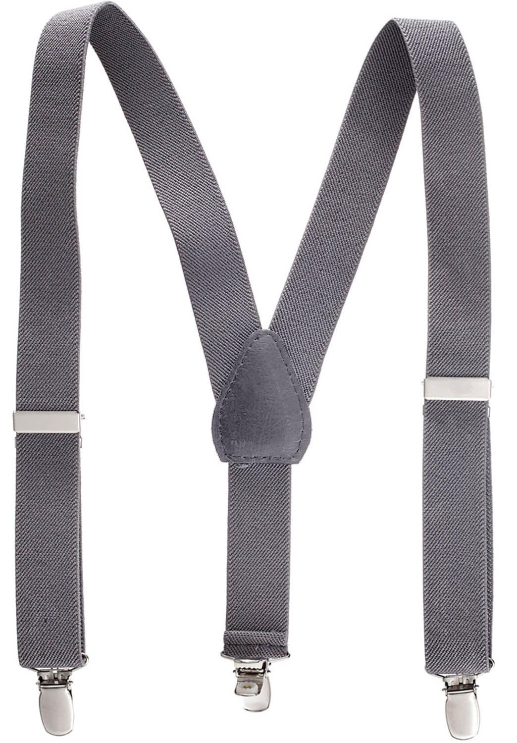Suspenders for Kids - 1 Inch Suspender Perfect for Tuxedo -Grey (26'')