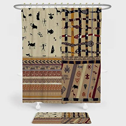 IPrint Primitive Shower Curtain And Floor Mat Combination Set Hunting Animals In Wilderness Elephant Zebra Fish