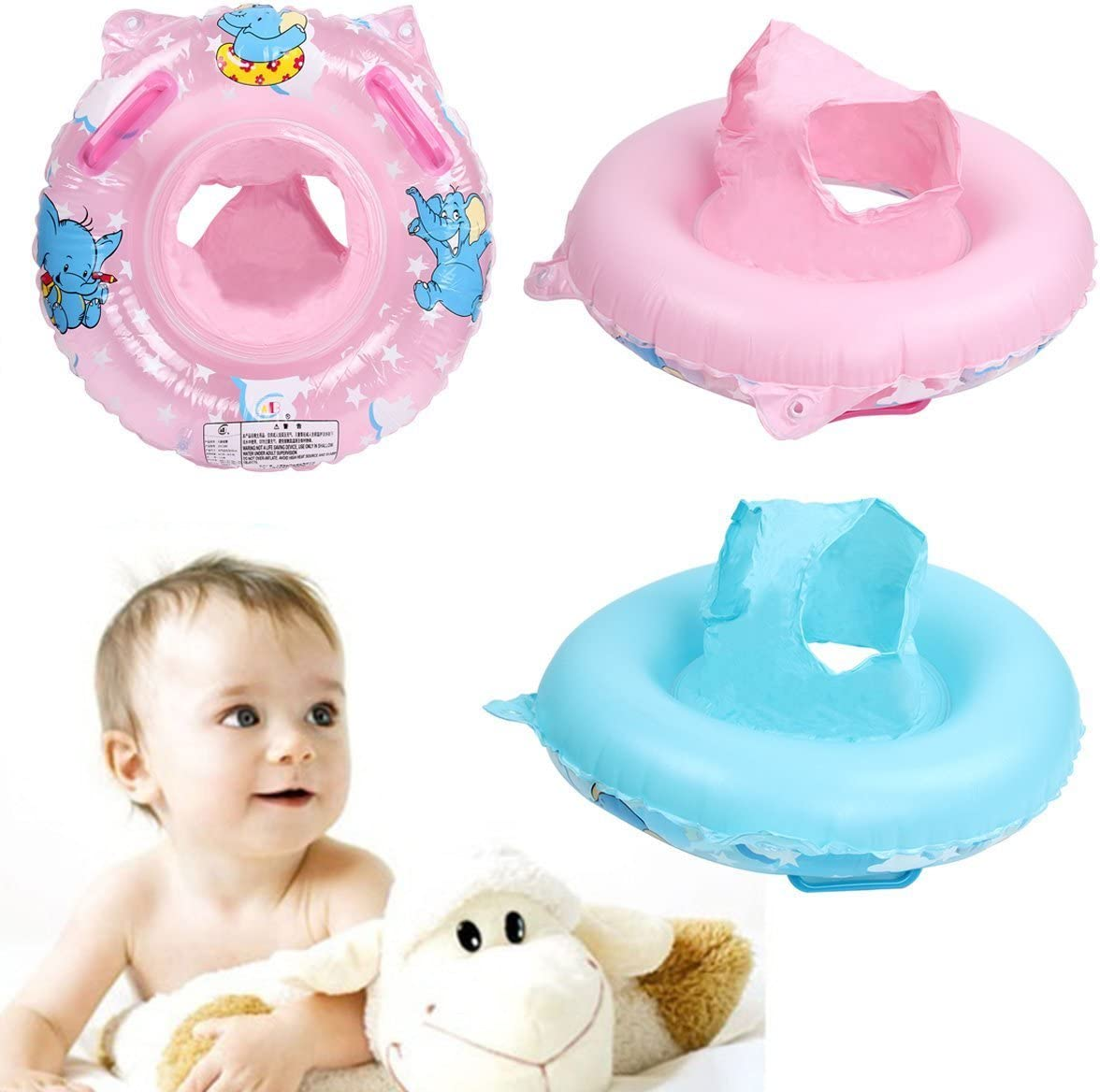Mochiglory Blue Baby Elephants Swimming Ring Seat Environmental PVC Material Safety Deepen