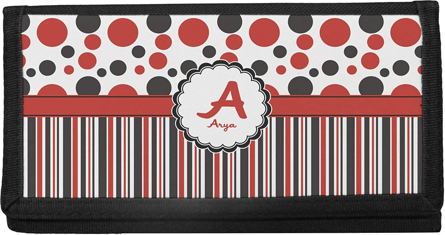 Personalized Red /& Black Dots /& Stripes Canvas Checkbook Cover