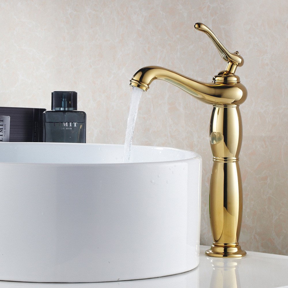 Bathroom Sink Faucet Retro Single Handle Single Hole Washbasin Head, All Copper Platform Top Pot, Luxury Gold Taps, Basin Hot And Cold Taps by Sink Taps FUNUAN (Image #1)