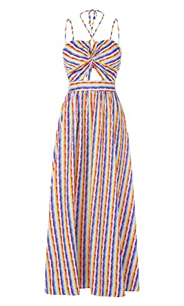 ae0cc91eedcc Image Unavailable. Image not available for. Color: Ferbia Womens Striped  Rainbow Spaghetti Strap Backless Tie Knot Party Maxi Dress