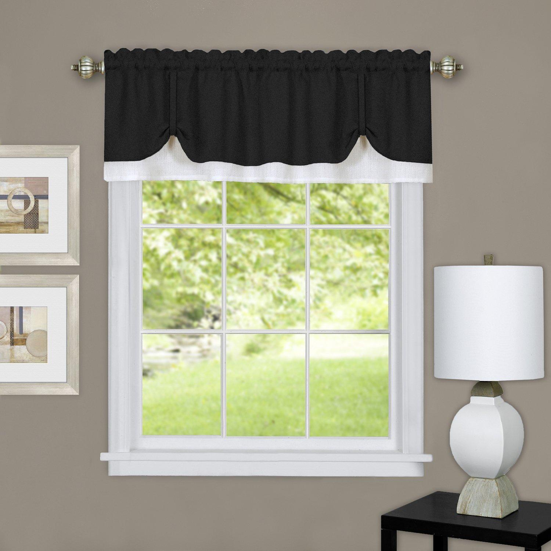 "Achim Home Furnishings Harvard Pair Window Curtain Tier, 57"" x 65"", Burgundy, Valance 58"" x 14"", Black & White"