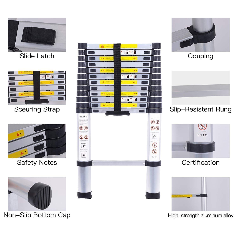 Telescopic ladders,EN131Standards Multi-Purpose Folding Aluminum Extension Ladder 8.5Ft//2.6M
