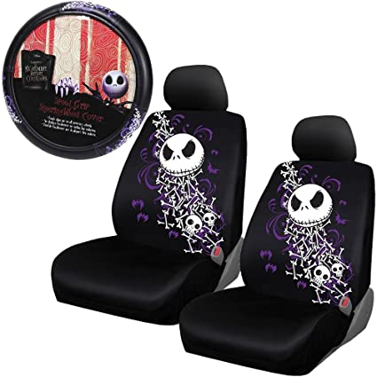 Nightmare Before Christmas Two Seat Covers Steering Cover NBC Bones Universal