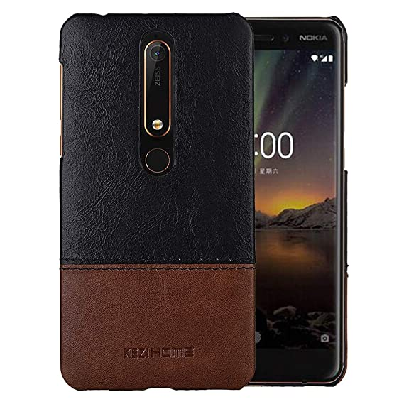 brand new 4c9ba 368b4 Nokia 6.1 Case,Nokia 6 2018 Case,Two Colors Vintage Genuine Leather Back  Cover for Nokia 6 2018 (Black)