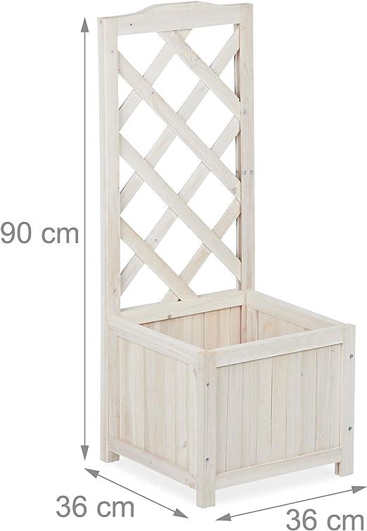 Relaxdays Pérgola de jardín, Enrejado de Madera, Decoración de Exterior, Macetero, 20 L, 90 cm, Blanco: Amazon.es: Hogar