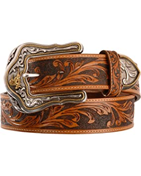 Tony Lama Men/'s Tan Westerly Ride Tooled Western Belt C41514