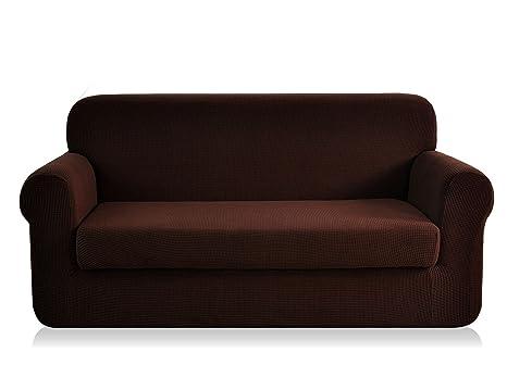 Funda de sofá elástica de CHUN YI, con textura jacquard, de elastano, 2 piezas , chocolate, Loveseat