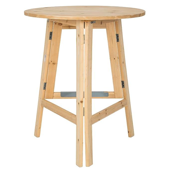 TecTake Table haute de bar restaurant jardin en bois massif pliable ...