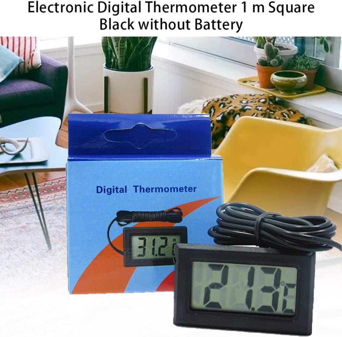 Negro Term/ómetro digital LCD con congelador de bater/ía Mini term/ómetro Term/ómetro electr/ónico para interiores y exteriores con sensor