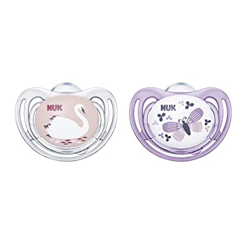 NUK Airflow Orthodontic Pacifier, Girl, 6-18 Months, 2-Pack