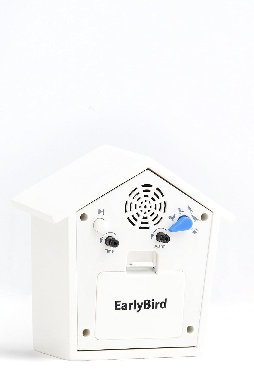 KOOKOO EARLYBIRD Bianco Uccelli Voce Sveglia con Veri Uccelli Voci e Un Tre rintocchi Gomma in Legno MDF Naturale wecken con riprese in der Natur