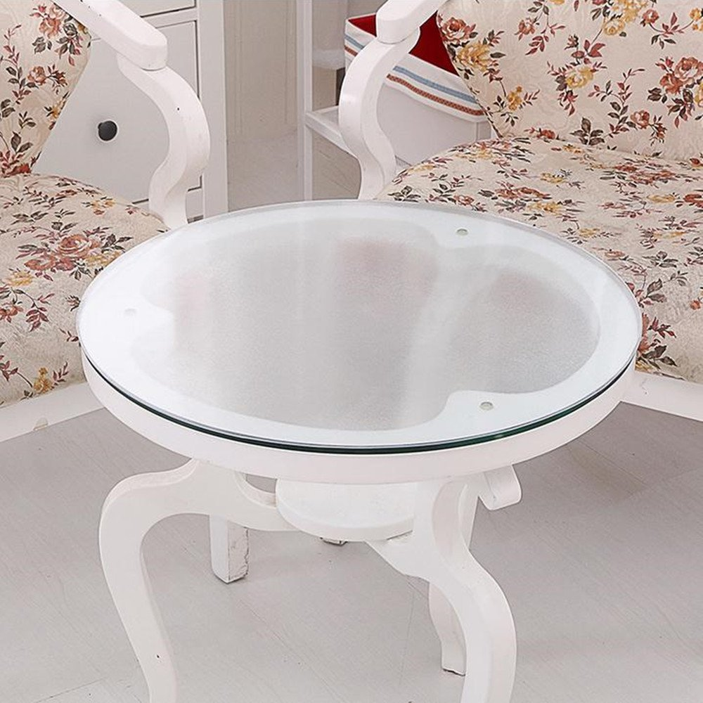 LovePads Multi Size Custom Round 2mm Thick Matt PVC Table Protector Cover Tablecloth 60 Inches (Dia. 152.4cm)