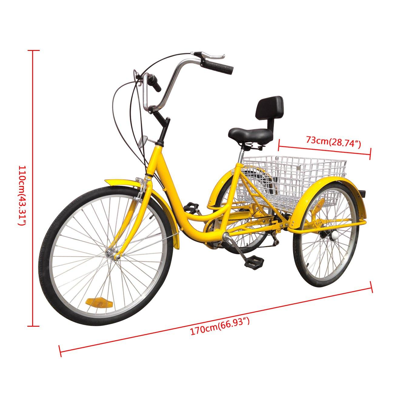 IglobalbuyYellow 24-Inch 6-Speed Adult Tricycle Trike 3-Wheel Bike Cruise Bike with Basket by Iglobalbuy (Image #2)