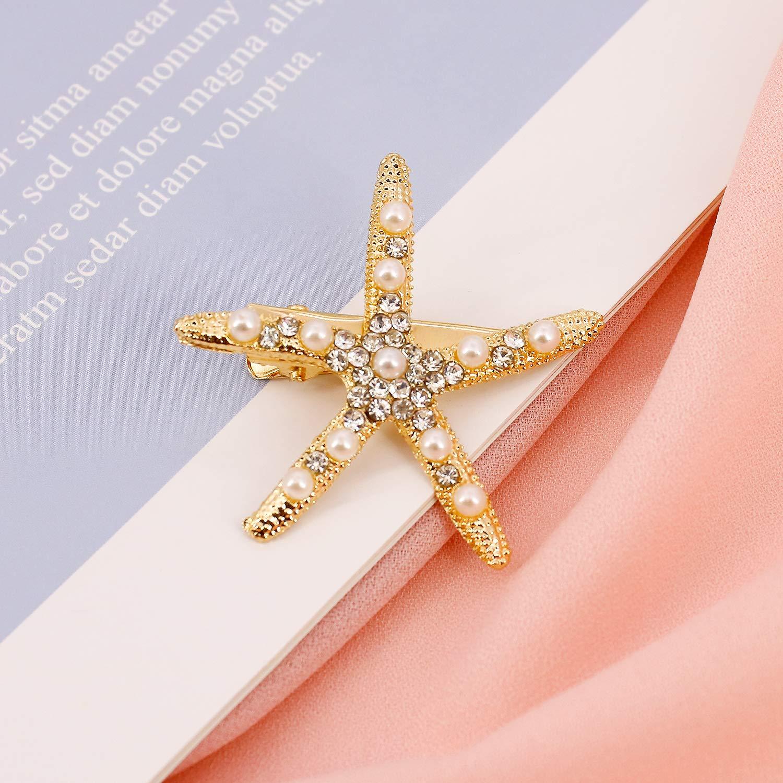 2 Pcs Starfish Hair Clip Pins Sea Beach Hair Barrettes Accessories Metal Flower Girl Accessories for Wedding (Gold)