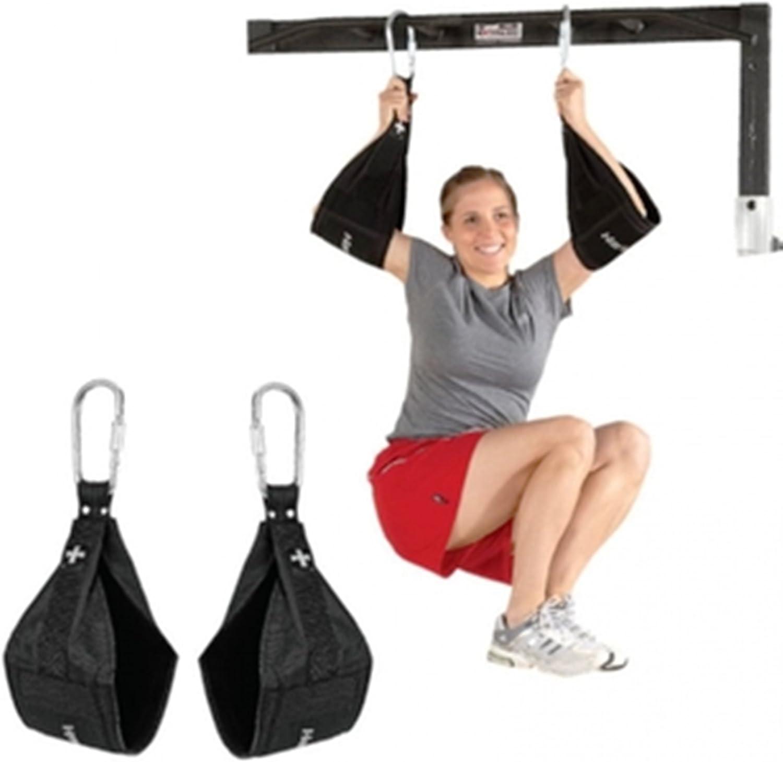 Correas de levantamiento de peso, para dominadas y ejercicio abdominal, para colgar de la puerta, con anillas en D y cierre de seguridad
