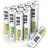 EBL 単4形充電池 充電式ニッケル水素電池 12個入 ケース付き(容量800mAh、約1200回使用可能)