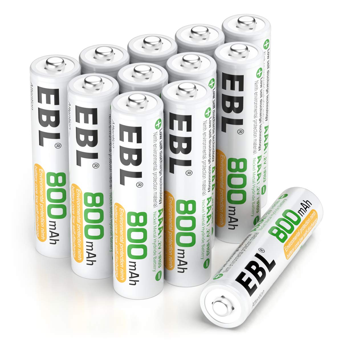 EBL 12 Counts Rechargeable AAA Batteries Home Basic 800mAh Battery with Portable Storage Box by EBL