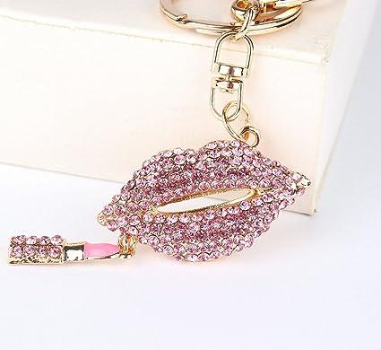 Llavero para mujer, diseño de labios, color rosa, con ...