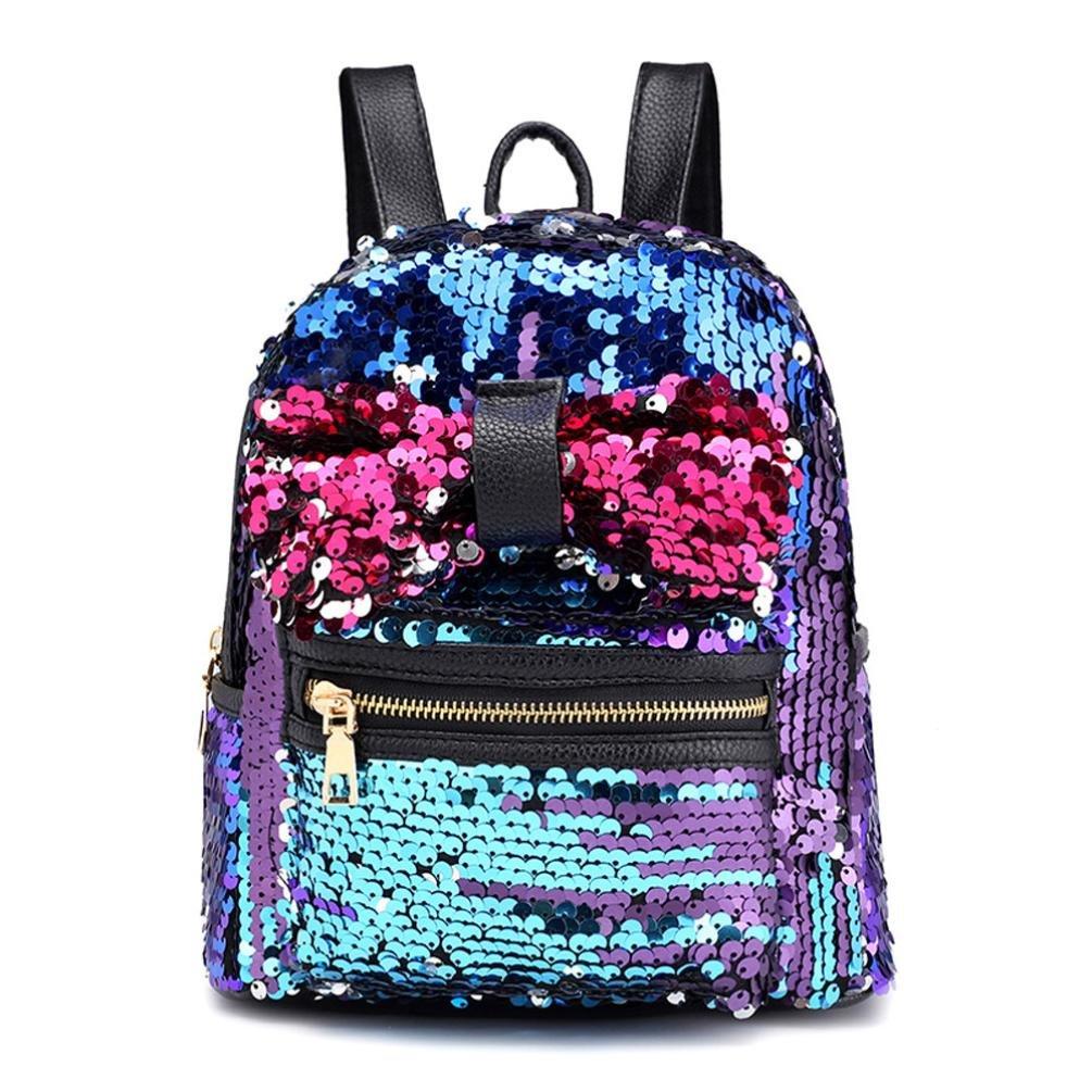 CocoMarket Fashion Sequins Bow Tie School Bag Backpack Satchel Women Travel Shoulder Bag (Blue)