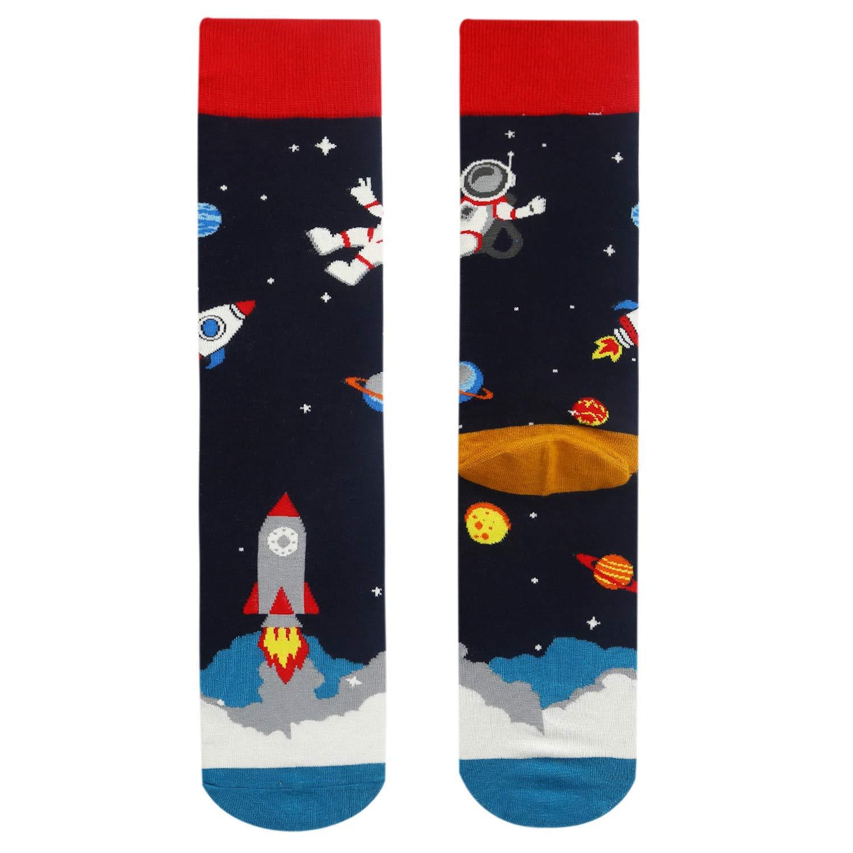 Mens Space Novelty Crew Socks Funny Crazy Socks Alien Astronaut Planet Pizza Casual Socks
