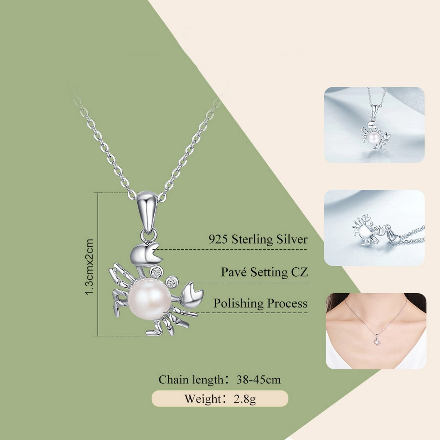 CS-DB Jewelry Silver Crab Cancer Pearl Chain Charm Pendants Necklaces