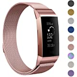 GeeRic Milanese Bands Compatible Fitbit Charge 3 Charge 3 SE, Milanese Loop Bracelet Stainless Steel Magnet Metal Replacement Strap, Wristbands Women Men Large Rose Pink