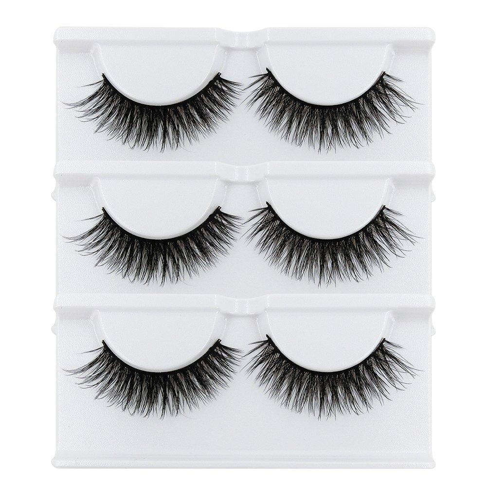BEPHOLAN False Lashes 3 Pairs Soft Fake Eyelashes 3D Mink Eyelashes Natural Look Reusable Handmade Fake Eyelashes for Makeup(xmz024)