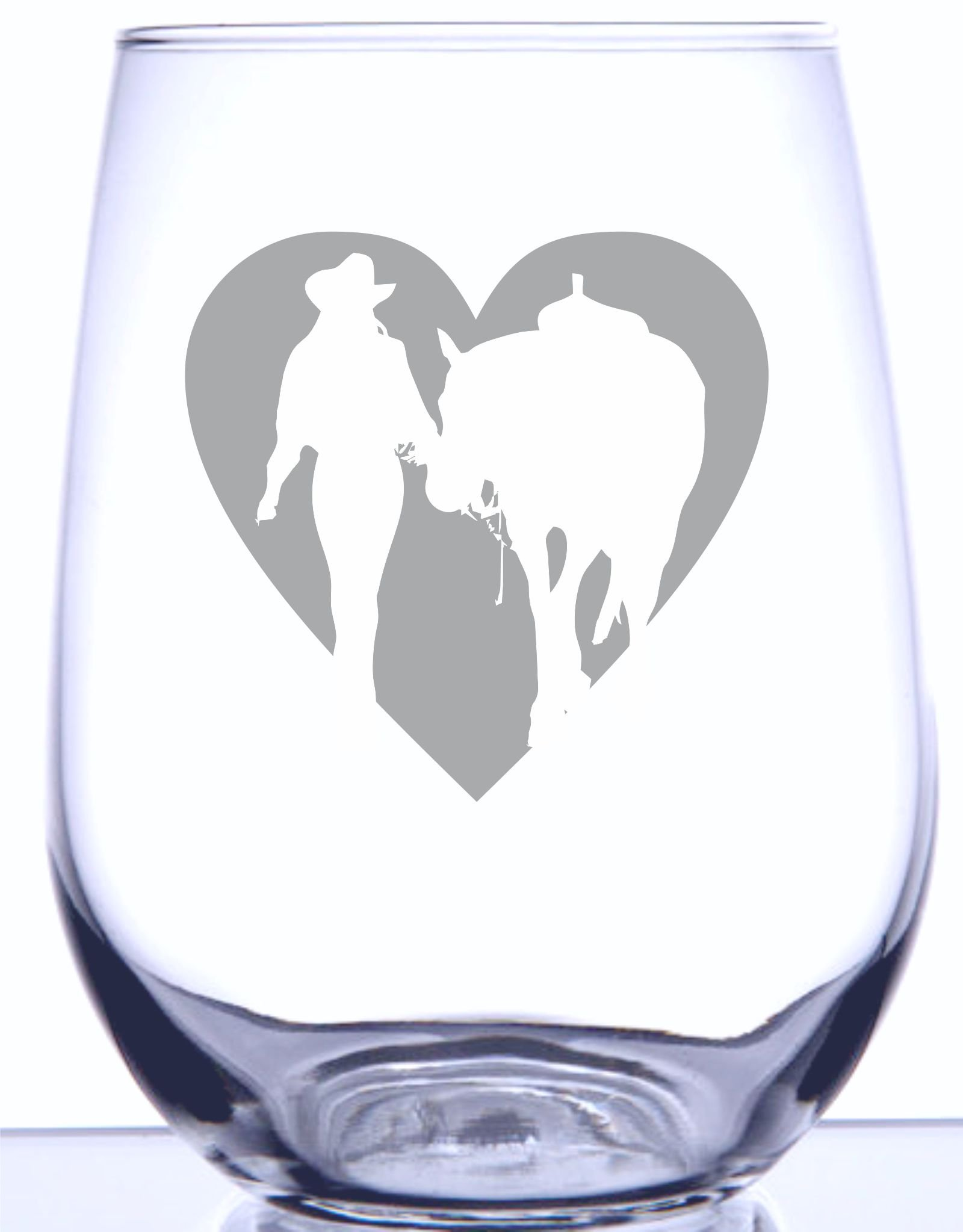 IE Laserware Girl & Horse Heart Silhouette Laser Etched Engraved Wine Glass - 17 Ounce Stemless Wine Glass