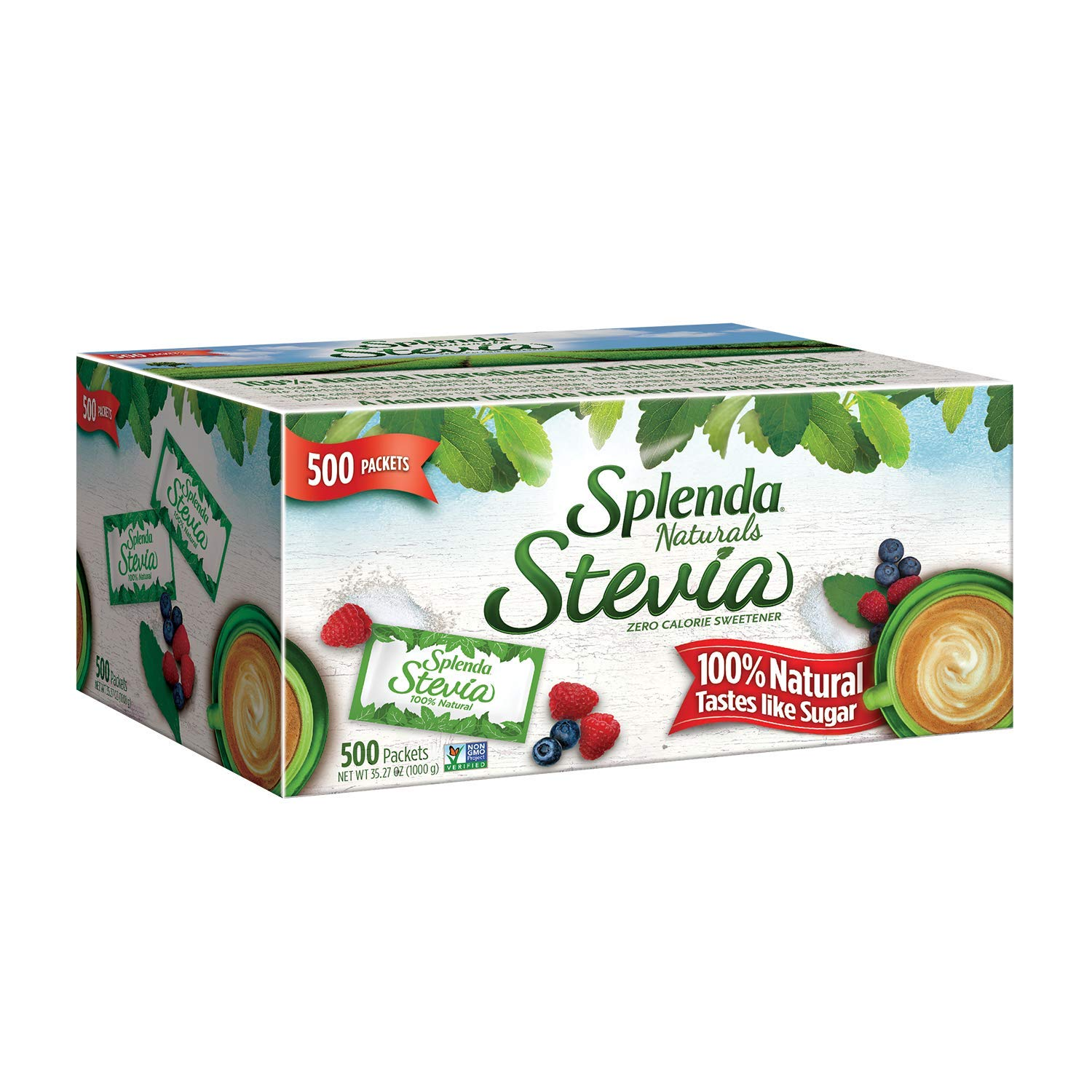 Splenda Naturals Stevia Sweetener Packets, 500 Ct -- Zero Calorie Stevia Sweetener. 100% Natural, Nothing Artificial, Best Tasting Stevia, No Bitter Aftertaste. Taste of Sugar Without the Calories.