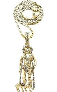 St Claudia Religious Round Medal Silver Tone Pendant with Rhinestones