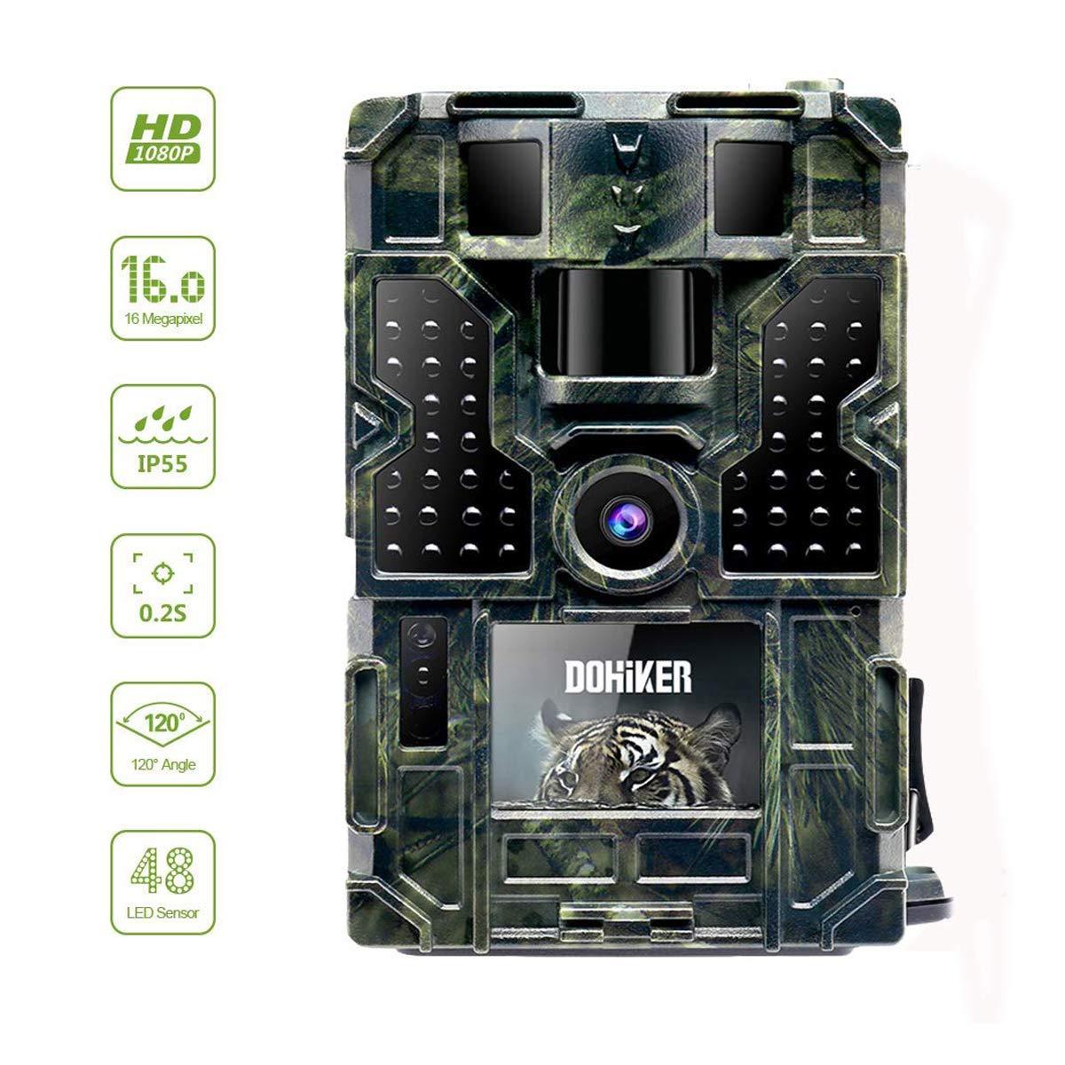Dohiker Cámara de Caza Gran Angular de 120°y 16MP y 1080P Trail cámara 48 Luces LED con PIR Infrarrojo Sensor de Movimiento Visión Nocturna Seguridad de ...