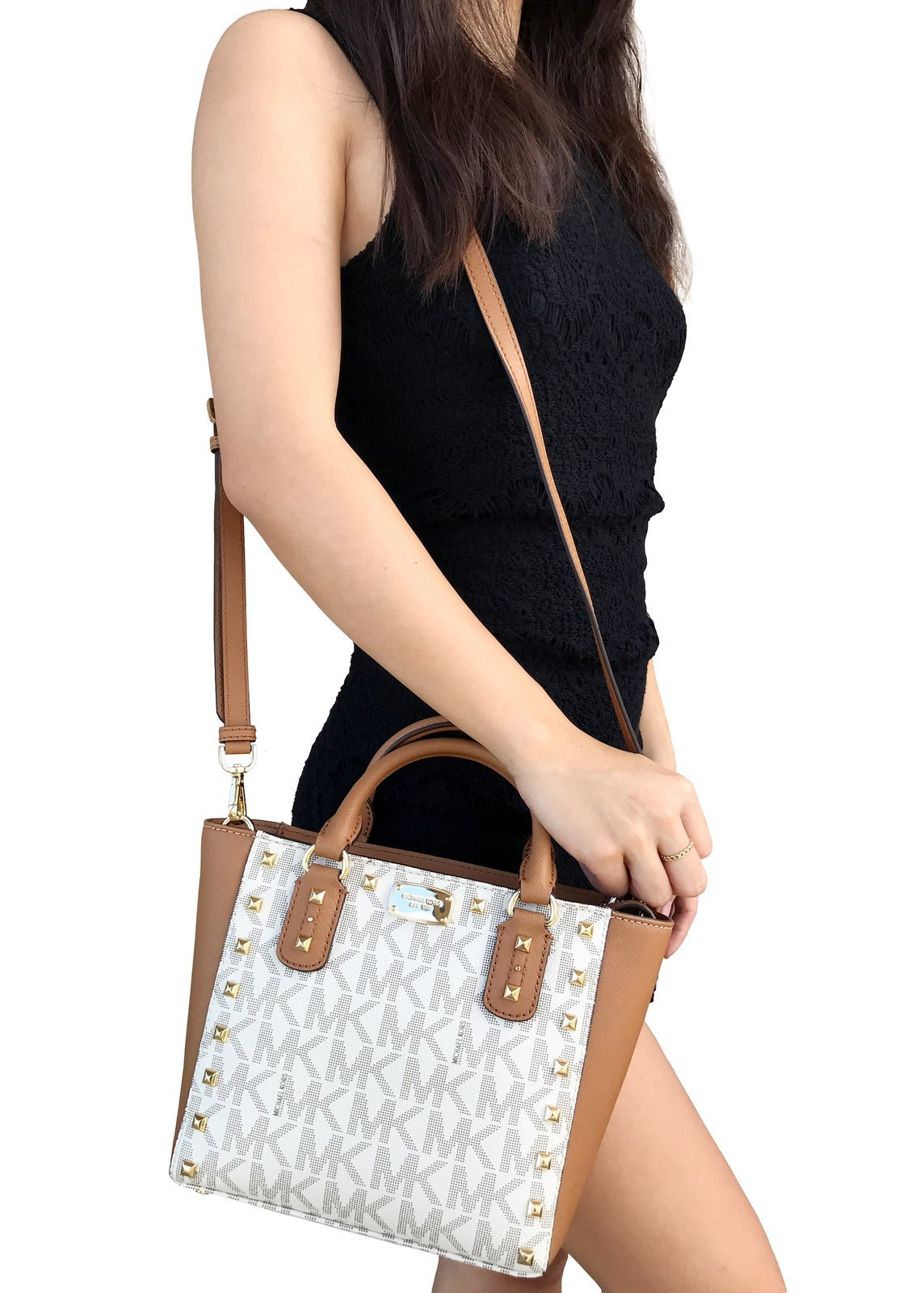 Michael Kors Sandrine Stud Signature Small Crossbody handbag in Vanilla/Acorn by Michael Kors