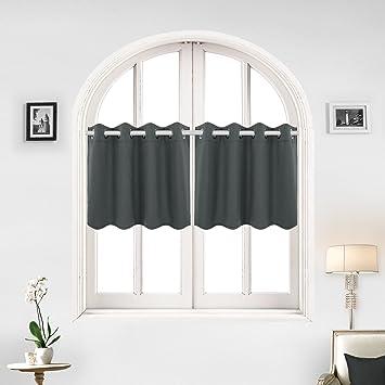 Deconovo Solid Color Grommet Blackout Curtains Short Curtains Blackout  Valance Kitchen Curtains For Kitchen 52 X